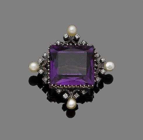 An amethyst, seed pearl and diamond brooch