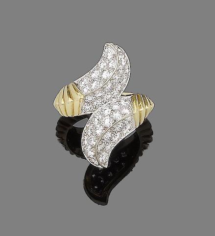 A diamond crossover ring, by Kutchinsky,