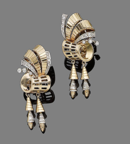 A pair of diamond-set pendent earrings,