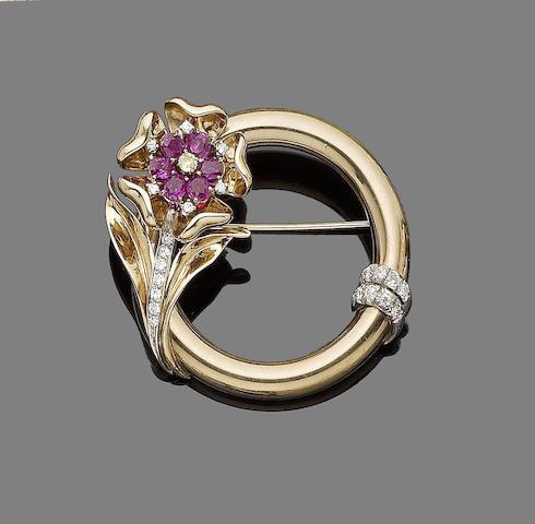 A ruby and diamond circlet brooch