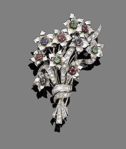 A gem-set spray brooch