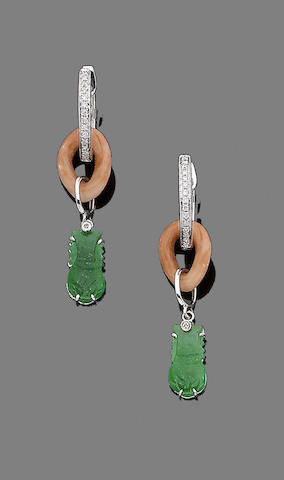 A pair of jade, coral and diamond earrings