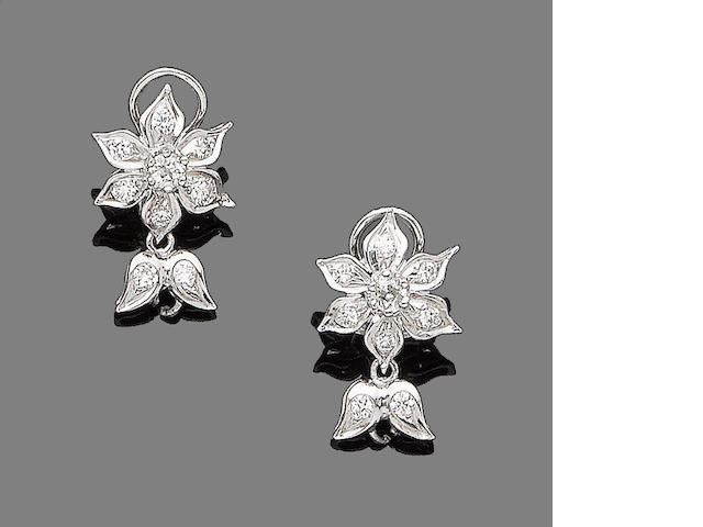A pair of diamond floral earrings
