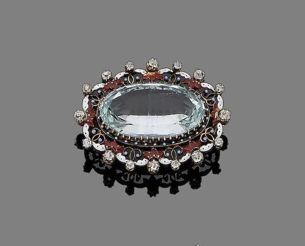 An aquamarine, enamel and diamond brooch,