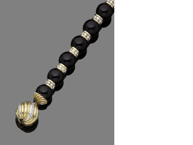 An onyx and diamond necklace