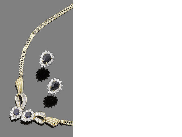 A sapphire and diamond necklace and earring suite (2)