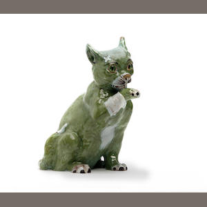 A Mosanic faience model of a cat Circa 1900