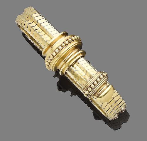A mid 19th century gold jarretière bracelet