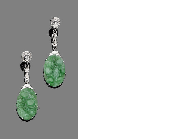 A pair of jade and diamond pendent earrings