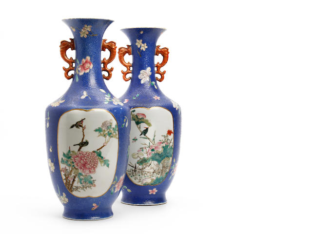 A pair of Chinese famille rose vases Qianlong seal mark, but later