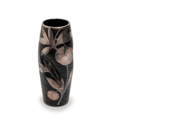 A Loetz silver overlaid iridescent glass vase Circa 1900-10