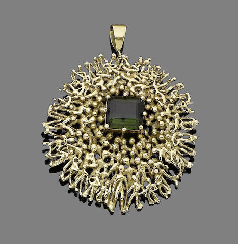 A tourmaline pendant/brooch, by Stuart Devlin,