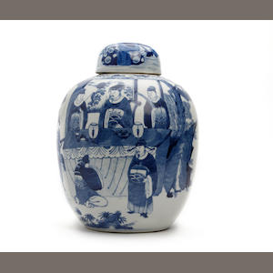 A large Chinese blue and white jar and cover 19th Century