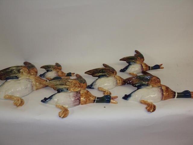Set of six flying ducks
