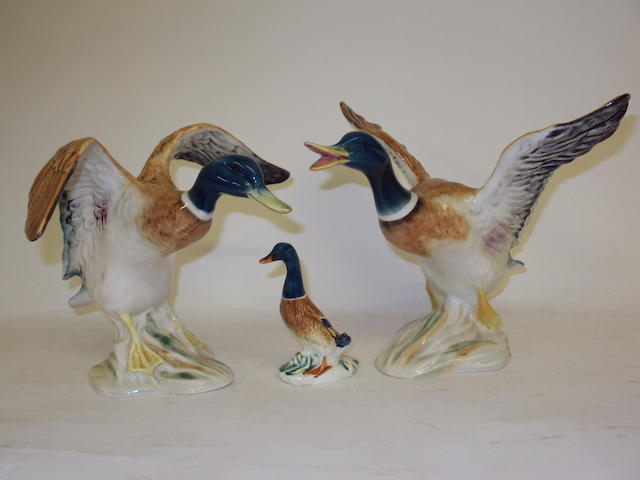 Three Beswick mallard figurines
