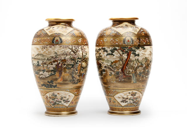 A large pair of Japanese Satsuma vases Late Meiji Period