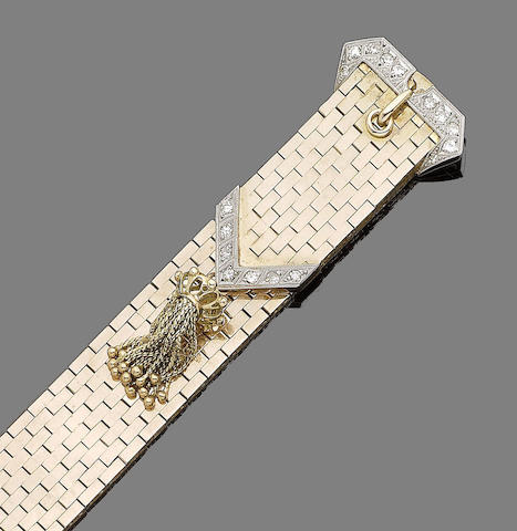 A diamond-set jarretière bracelet,
