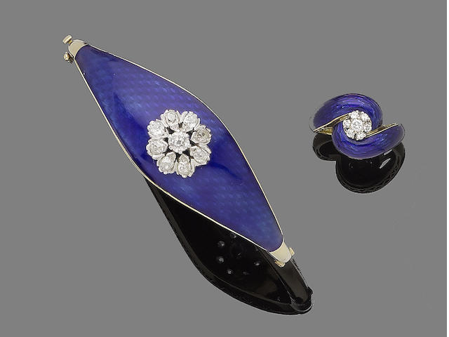 An enamel and diamond bangle and ring (2)