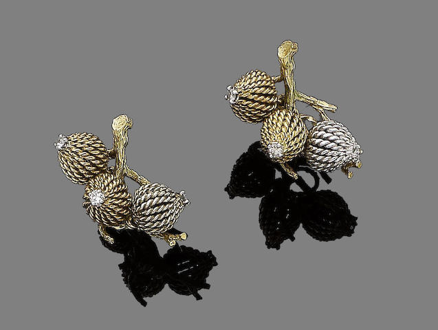 A pair of diamond-set earrings,