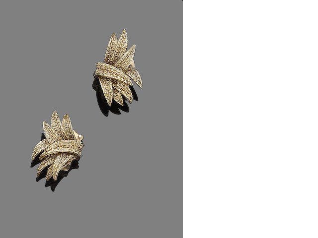 A pair of earclips, by Van Cleef & Arpels