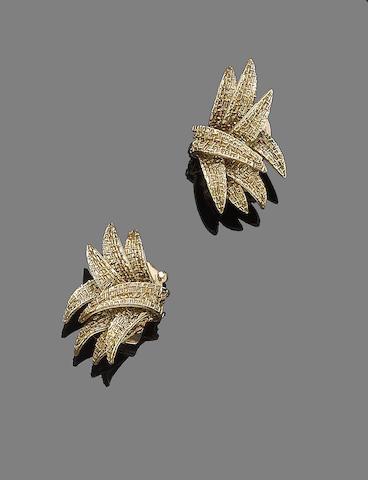 A pair of earclips, by Van Cleef & Arpels