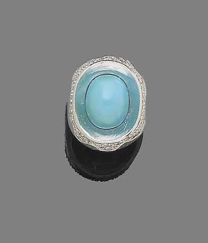 A turquoise and diamond dress ring, by Grima,