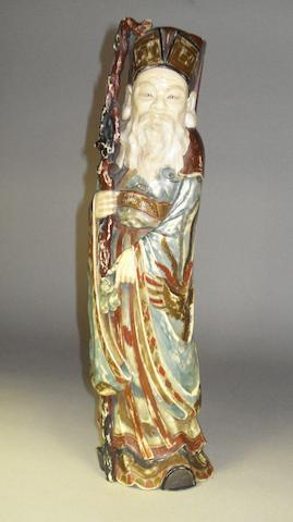 A carved ivory figure of Shoulao