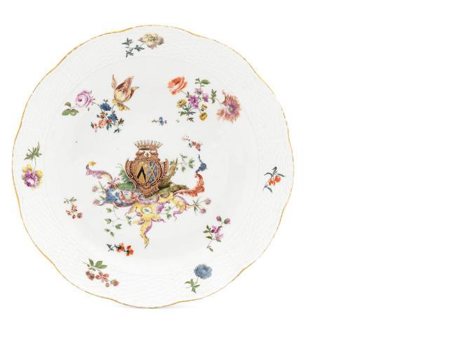 A rare Meissen armorial plate, circa 1755-60