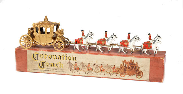 Rare large Lesney Coronation Coach with King and Queen figures, 1951 Only 200 examples where issued of this first casting of the coach with both King and Queen figures.
