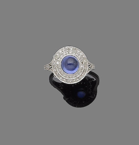 A sapphire and diamond target ring,