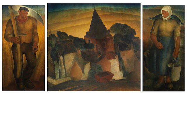 Antoine (Anto) Carte (Belgian, 1886-1954) Le village (triptych) central panel 100.5 x 105cm (39 9/16 x 41 5/16in); <BR /> side panels 100.5 x 50.2cm (39 9/16 x 19 3/4in) each.
