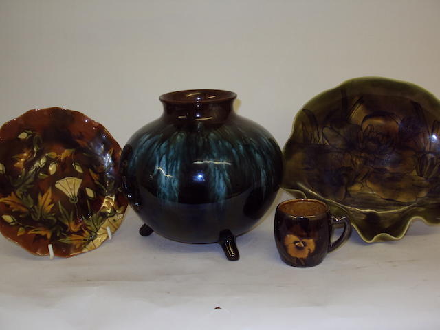 A small collection of Linthorpe pottery