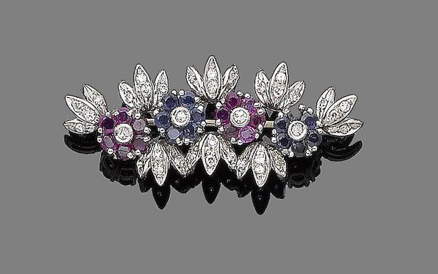 A ruby, sapphire and diamond brooch