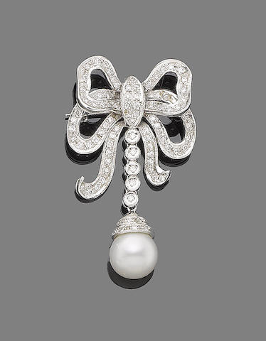 A cultured pearl and diamond bow brooch