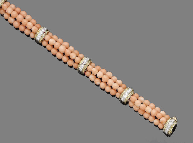 A coral bead and diamond bracelet, by Van Cleef & Arpels