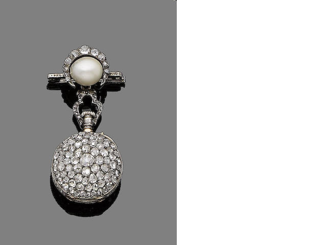 A diamond and pearl fob watch/brooch,
