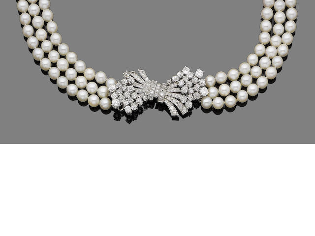 A three-row cultured pearl and diamond necklace and a two-row cultured pearl bracelet (2) (partially illustrated)