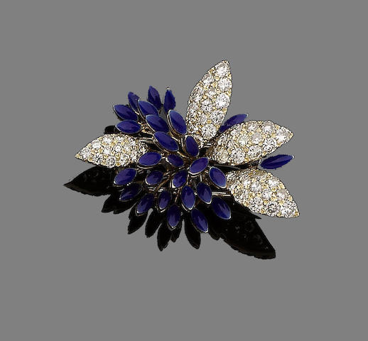 An enamel and diamond spray brooch,