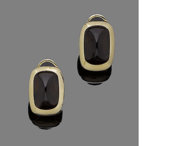 A pair of garnet earrings, by Pomellato