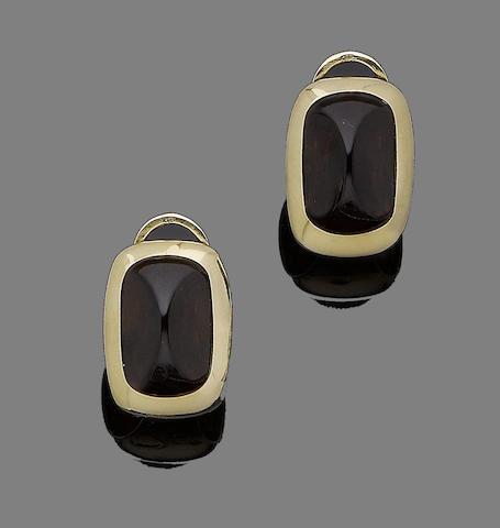 A pair of garnet earrings, by Pomellato
