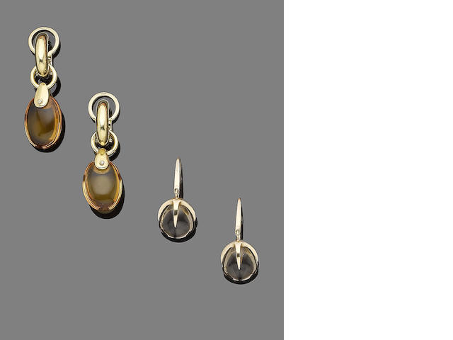 A pair of citrine pendent earclips and a pair of smoky quartz earrings, by Pomellato (2)