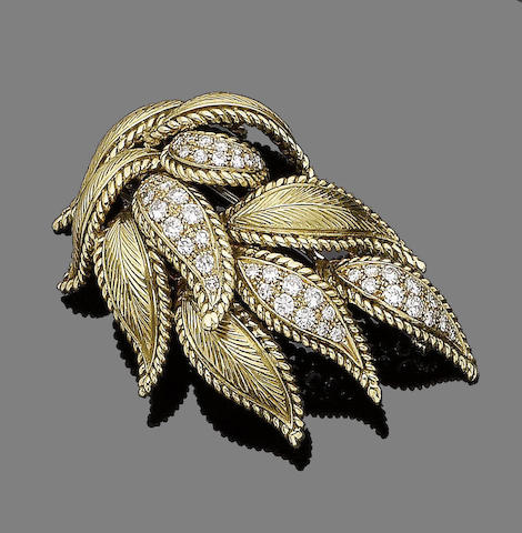 A diamond-set brooch