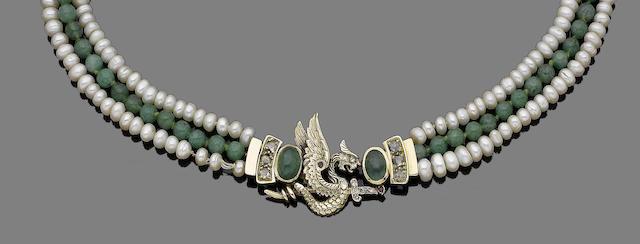 A cultured pearl, quartz, ruby and emerald three-strand necklace