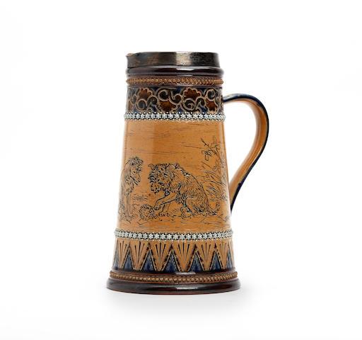 A Doulton Lambeth jug by Hannah Barlow Circa 1882