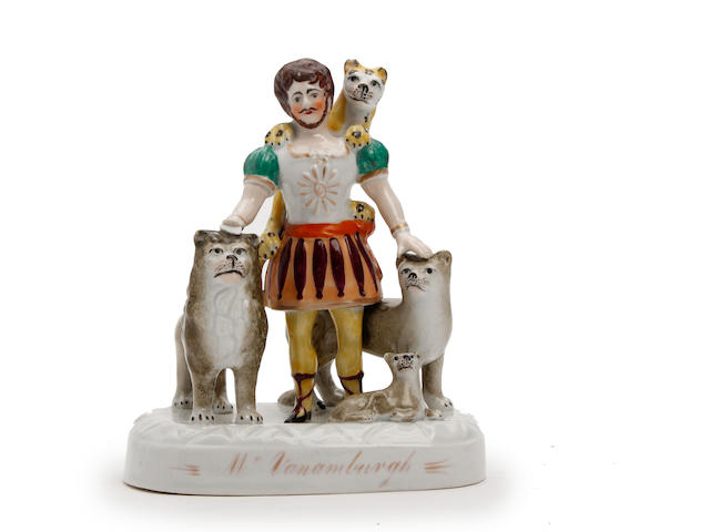 A Van Amburgh animal figure group attributed to John and Rebecca Lloyd of Shelton Circa 1839