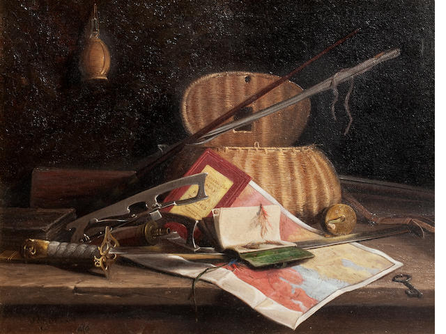 John Fitzmarshall (British, 1859-1932) Still life with rods and reels