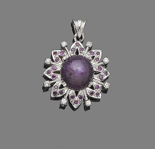 A star ruby and diamond pendant