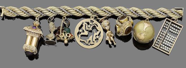 A gem-set charm bracelet