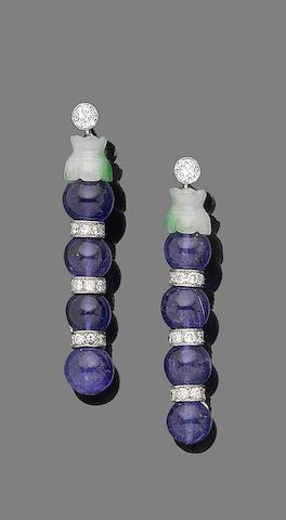 A pair of tanzanite, jade and diamond pendent earrings