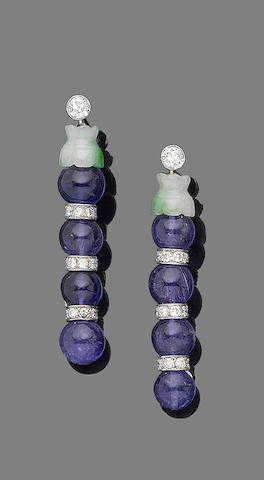 A pair of tanzanite, jade and diamond pendent earrings